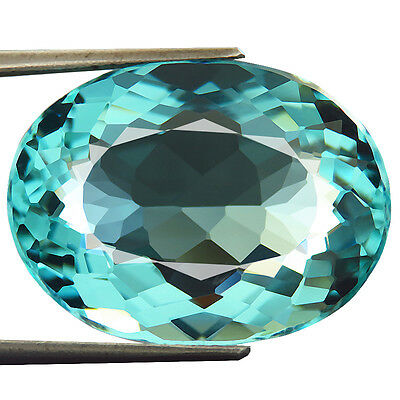 22.00ct AWESOME Lab Created GORGEOUS AAA+ BLUE AQUAMARINE QUARTZ OVAL 17 x 22 MM
