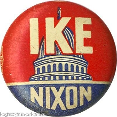 Classic 1952 Eisenhower IKE NIXON Capitol Dome Campaign Button (6167)