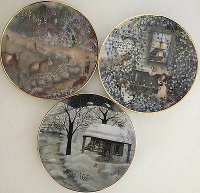 Three Carol Endres Franklin Mint Plates Farmyard Welcome And Moonlight Visitors