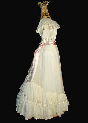 Heavenly Antique 1890'S Ivory Silk Cotton Blend 2 Pc Dress / Gown With Train