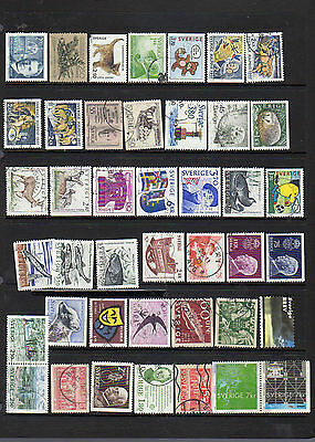 42 all different used stamps from Sweden