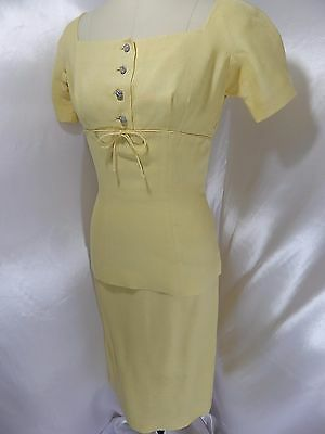 1950s True Vintage 2PC SUIT/OUTFIT~Pale Yellow wRhinestones TOP/SKIRT 35BUST 24W