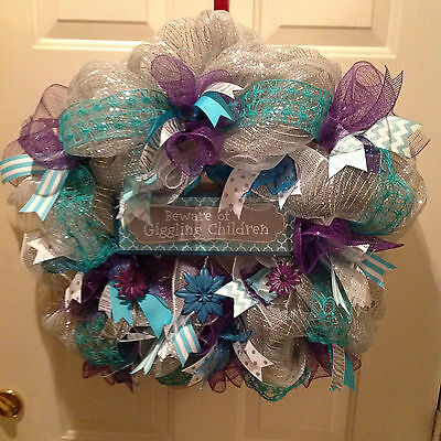 Wreath Deco Mesh Giggling Hanger Decoration Purple Teal Grey Handmade new