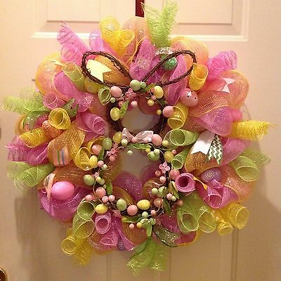 Easter Bunny Wreath Deco Mesh Hanger Decoration Pink Yellow Lime Handmade new