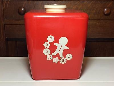 Burroughs Red Plastic Ginger Bread Man Cookie Jar Made in Los Angeles California