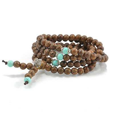 108 Sandalwood Buddhist Buddha Meditation Prayer Bead Mala Bracelet Necklace