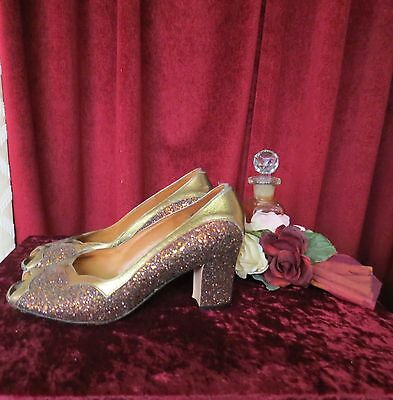 Peep Toe Gold/Rust Sparkled leather 60's True Vtg  Shoes.