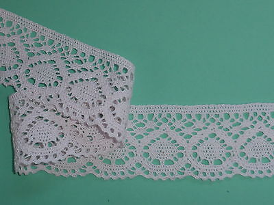 """3 METRES Pretty Pale Pink Cotton Cluny Crochet Lace Trim 6cm/2.5"""" Sewing Crafts"""
