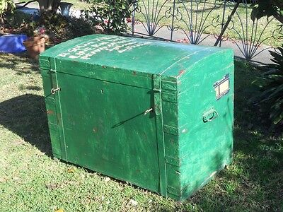 Vintage Antique Green Domed Top/ Timber Trunk / Industrial Wooden Storage Chest