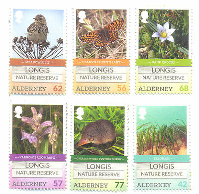 Alderney-Longis Nature Reserve set 2016 mnh -Birds-Butterflies