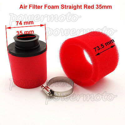 Air Filter Foam Straight Red 35mm For 50 70  90 110cc Atomik Thumpstar Pit Bike