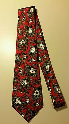 Disney Mickey Mouse Silk Necktie Red Paisley Balancine The Tie Works Hand Made