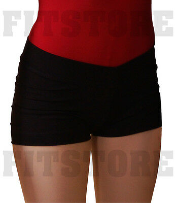 Jazz Dance Shorts With V-Waist - Black. Top Performance Nylon! SHOWSTOPPER Brand