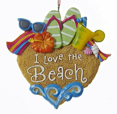 Kurt Adler Ornament I Love The Beach Cottage Party Coastal Decor
