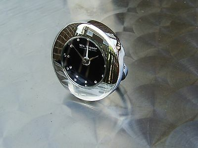 travel alarm clock chromed metal case size 6 cm black face with diamantes