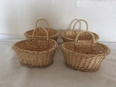 4 Small Wicker Basket With Handle At Back, Easter /Storage