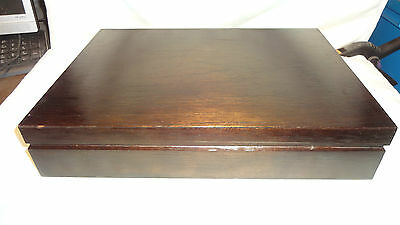 Vintage Empty Wooden Cutlery Box/Canteen For 6 Place Setting Red Interior