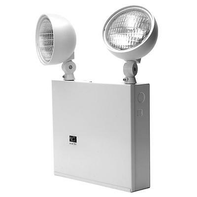 Lithonia New York Approved 2-Head White Steel Emergency Light Fixture Unit