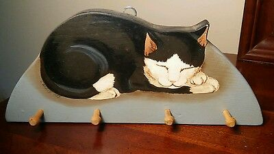 "9.75"" Long x 4.25"" Tall Wall Hanging with Pegs Plaque Black & White Kitty Cat"