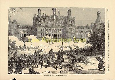 Fighting At Castle Of Chambord,franco Prussian War Antique Engraving Print C1874