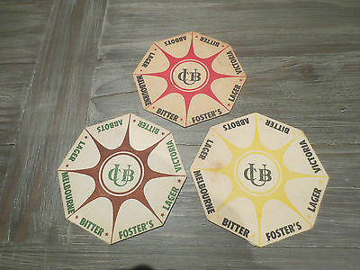3 Different CARLTON & UNITED BREWERIES 1950 - 1952, Issue BEER COASTERS