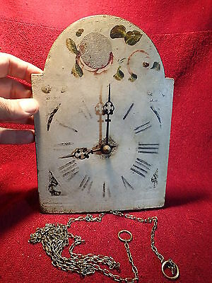 dated 1892 ANTIQUE WALL CLOCK with  HANDPAINTED CLOCKFACE EUROPEAN PRIMITIVE