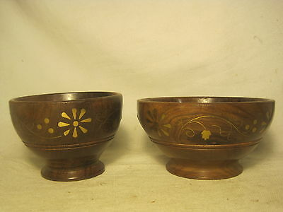 2 x inlaid bowl wooden dish container inlay brass & wood India scroll leaf