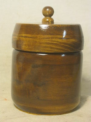 vintage turned wood container wooden polished gloss lidded lid bowl cylinder box