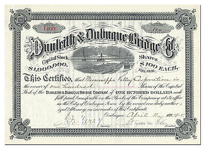 Dunleith & Dubuque Bridge Company Stock Certificate Signed by Stuyvesant Fish