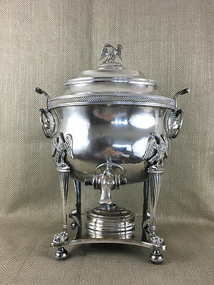 ANTIQUE SAMOVAR COFFEE URN SILVER PLATED Lion Mask Eagle Paw Feet Regency 1840s