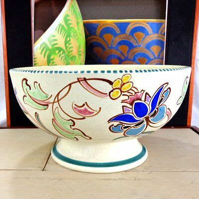 Vintage Art Deco Bowl Hand Painted Honiton Pottery Large Fruit Flowers Vtg