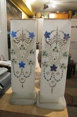 """Very Old Pair of Hand Decorated White Bristol Vases 11"""" Tall"""