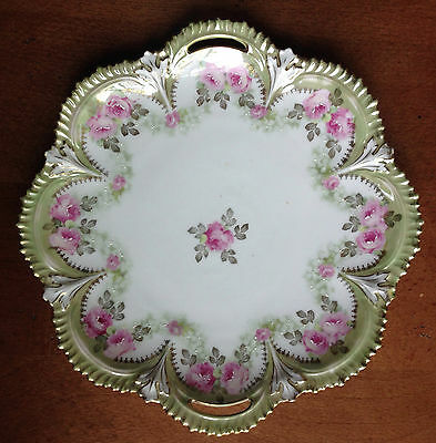 """RS Prussia signed, 9 1/2"""" Open handle Cake Plate, Lt.Olive edge, Pink Roses"""