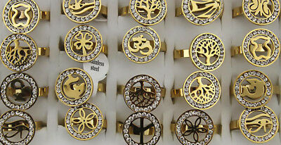New Bulk Lots 25pcs stainless steel Rhinestone Gold Band Cutting Mix Design ring