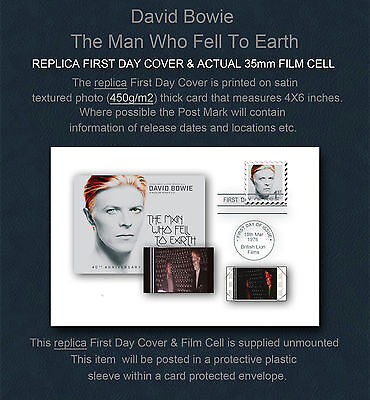David Bowie The Man Who Fell To Earth Replica First Day Cover + 35mm Film Cell