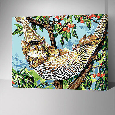 Framed Painting by Number kit Sleeping Cat In The Hammock Little Animal YZ7590