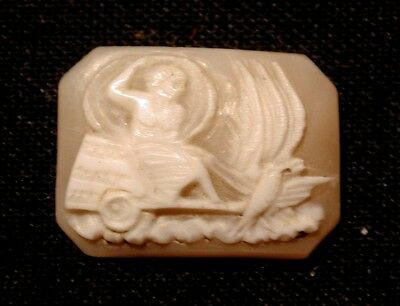 """Antique Loose Cameo Bird Pulling Roman Chariot Hand Carved Shell 1/2"""" T 11/16"""" W"""