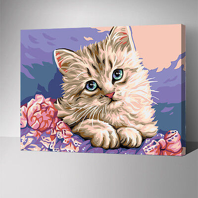 Framed Painting by Number kit Lovely Cat Kitty Little Animal House Pet YZ7589