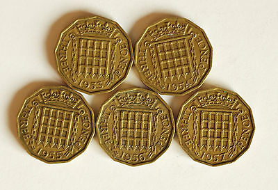 Five Elizabeth II brass THREE-PENCE coins dated 1953 to 1957
