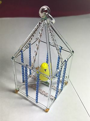 VINTAGE 1960's Murano ART Glass Hand Blown Budgie In Bird Cage Ornament