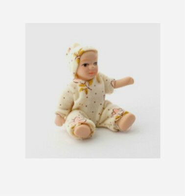 Dolls House Dolls: Porcelain Baby Doll  'Freya'     in 12th scale