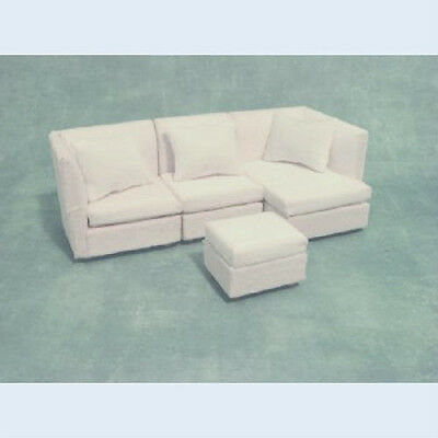 Modern White Corner Sofa for a dolls house   in 12th scale