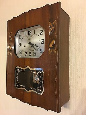 Vintage 1940s 1950s French Odo Sauvage Celles Belle Westminter Carved Wall Clock
