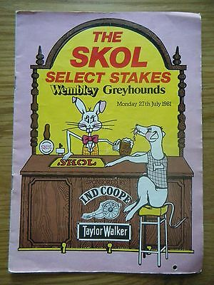 1981 Wembley ''select Stakes'' Greyhound Racecard
