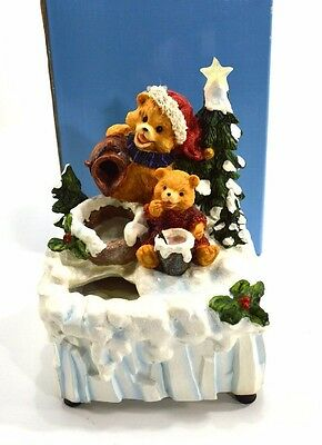 A Beary Special Holiday Christmas Teddy Bear Water Fountain Avon Gift Collection