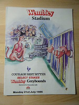1986 ''select Stakes'' Greyhound Racecard - Wembley