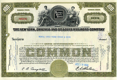The New York, Chicago and St. Louis Railroad Company - 100 Shares - Aprili 1958