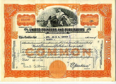 United Printers and Publishers - 30 Shares - September 1950