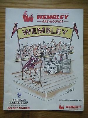 1989 ''select Stakes'' Greyhound Racecard - Wembley
