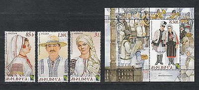 Moldova Costuemes MNH** 2012 Mi. 789-792 Bl.62 Traditional Costumes
